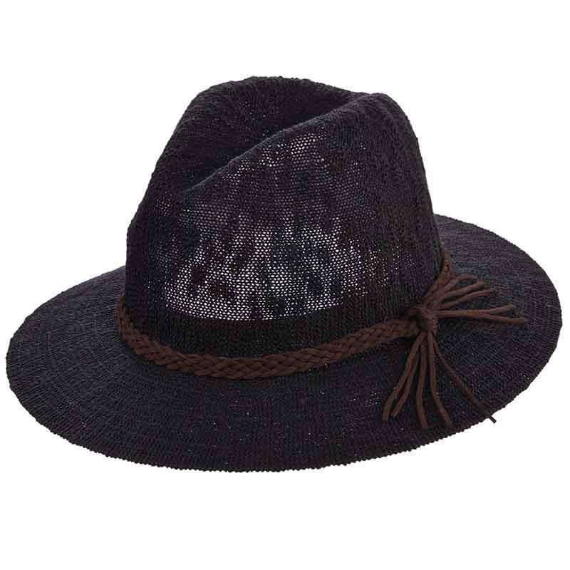 889b825d573 Knit Safari Hat with Braided Suede Band by Scala
