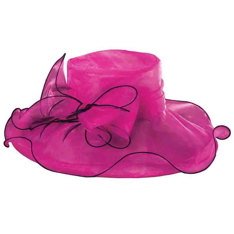 Fuchsia Organza Hat with Black Trim - Scala