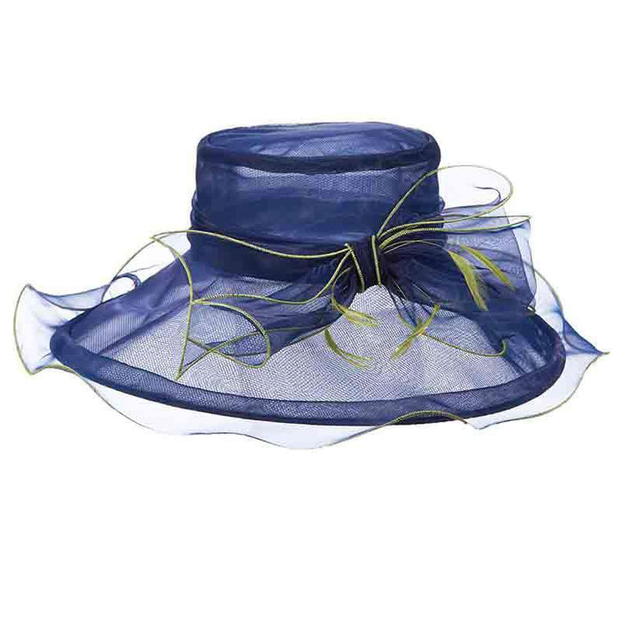 Navy Organza Hat with Yellow Trim - Scala Collezione