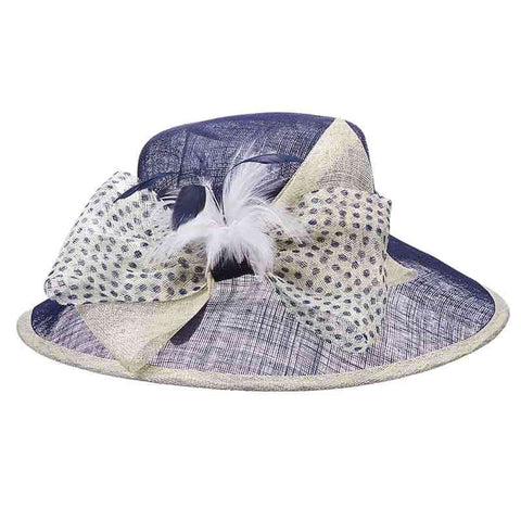 Polka Dot Bow Sinamay Big Brim Hat