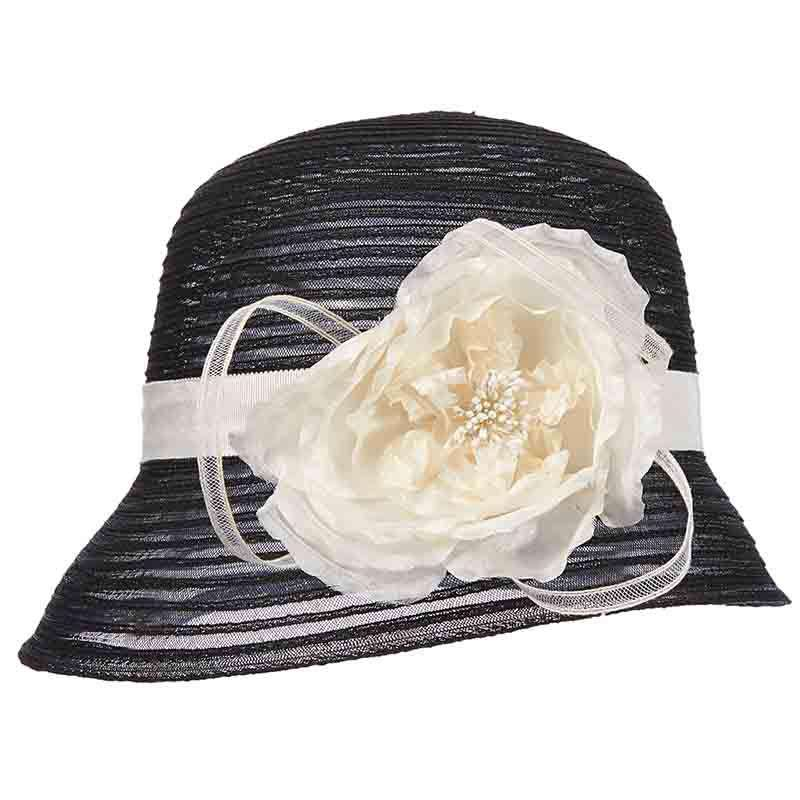 Crinoline Cloche Style Dress Hat with Flower Accent by Scala - Black