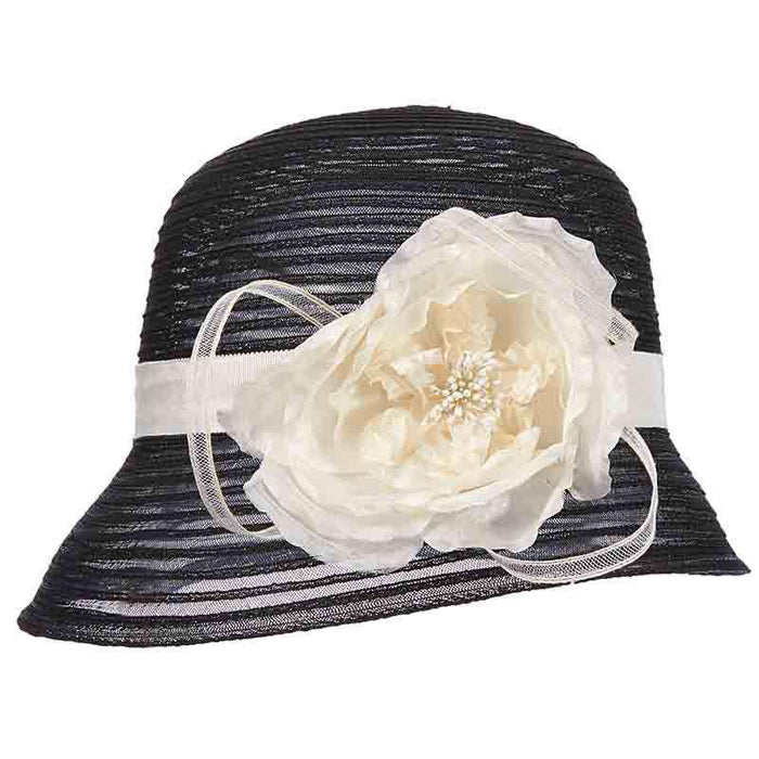Crinoline Cloche Style Dress Hat with Flower Accent by Scala - Black - SetarTrading Hats