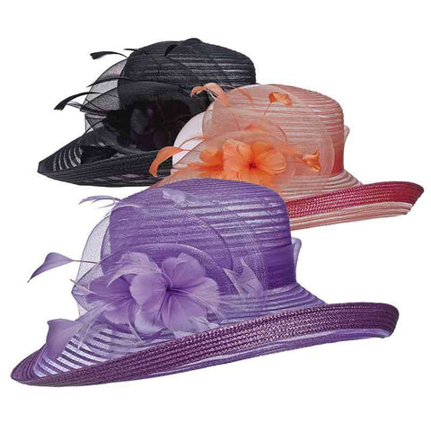 Crinoline Dress Hat with Up Turned Brim by Scala Collezion