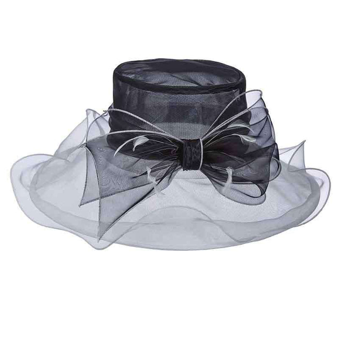 Two Tone Sheer Organza Hat with Large Bow by Scala Collezion - SetarTrading Hats