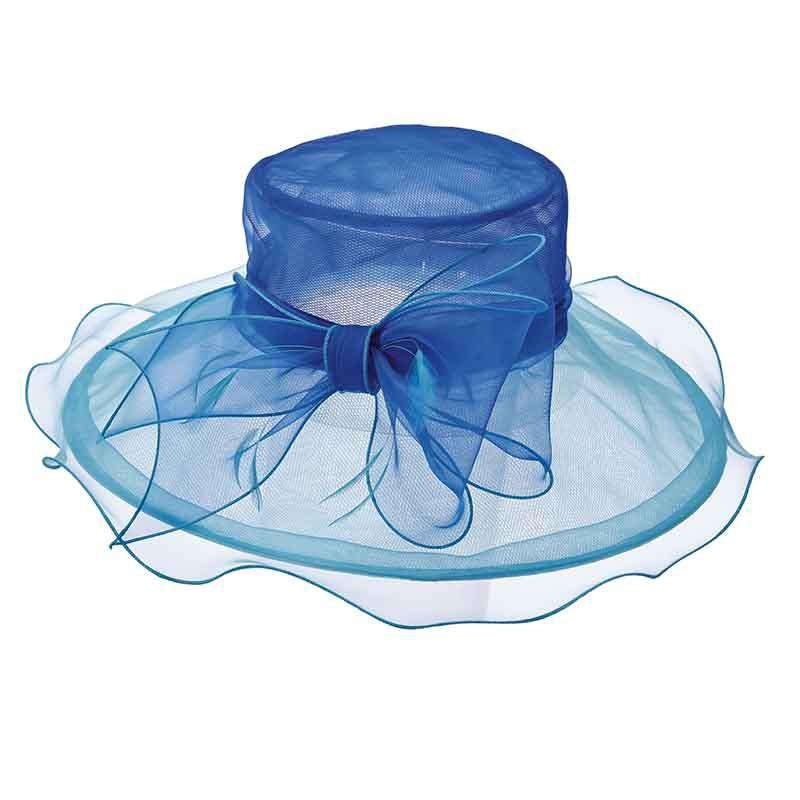Two Tone Sheer Organza Hat with Large Bow by Scala