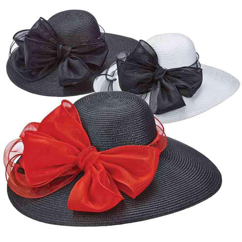 Capeline Hat with Large Organza Bow - Scala