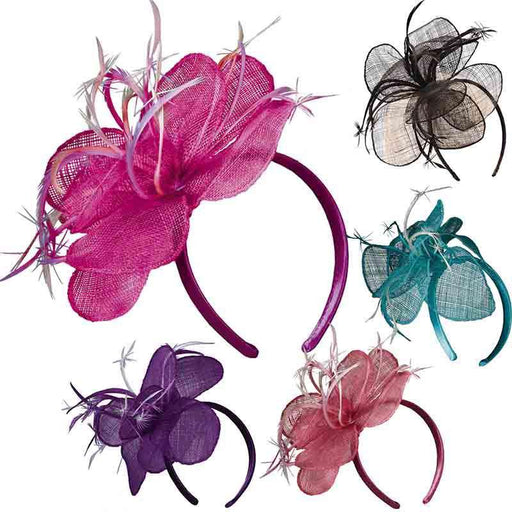 Sinamay Flower Fascinator with Feathers - Scala Collezion - SetarTrading Hats