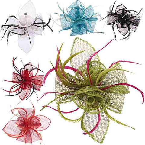 Sinamay Rose and Feather Fascinator Clip - Scala Collezion