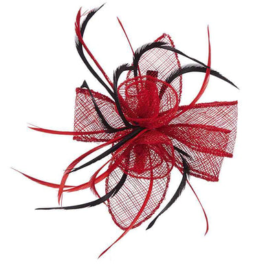 Sinamay Rose and Feather Fascinator Clip - Scala Collezion - SetarTrading Hats