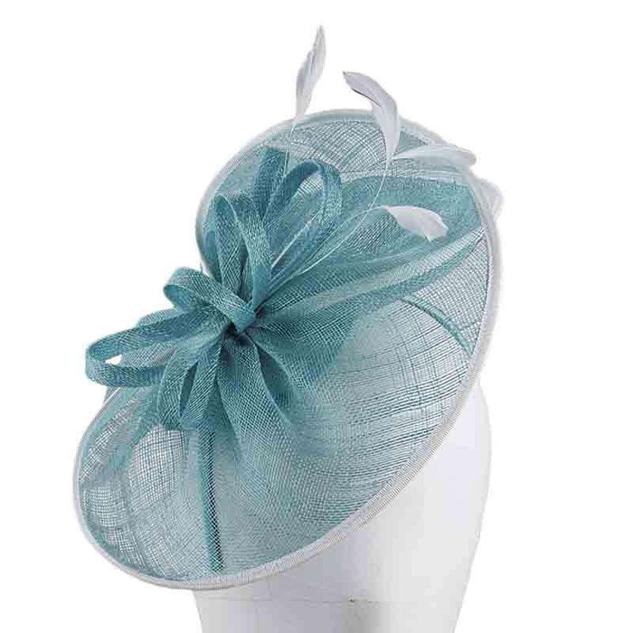 Sinamay Fascinator with Loops and Feathers by Scala - Turquoise - SetarTrading Hats