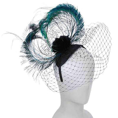 Peacock Feather and Netting Fascinator Headband - Scala