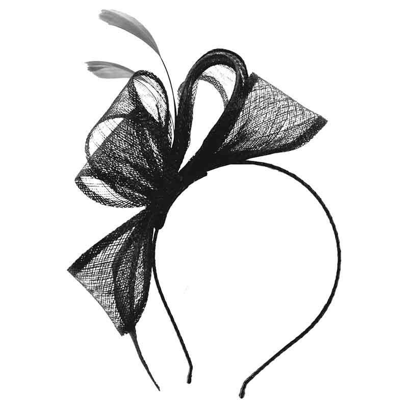 Sinamay Bow Fascinator with Feathers by Scala