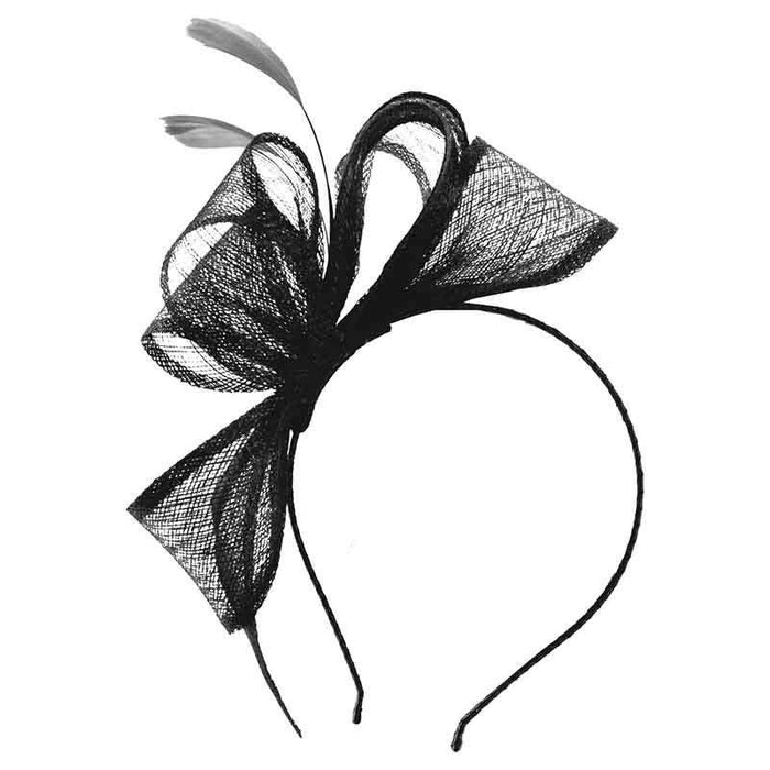 Sinamay Bow Fascinator with Feathers by Scala - SetarTrading Hats