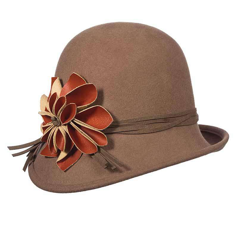 Wool Felt Asymmetrical Cloche with Leatherette Flower - Scala