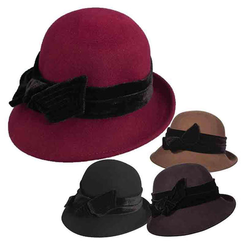 Curled Brim Slanted Cloche with Velvet Bow