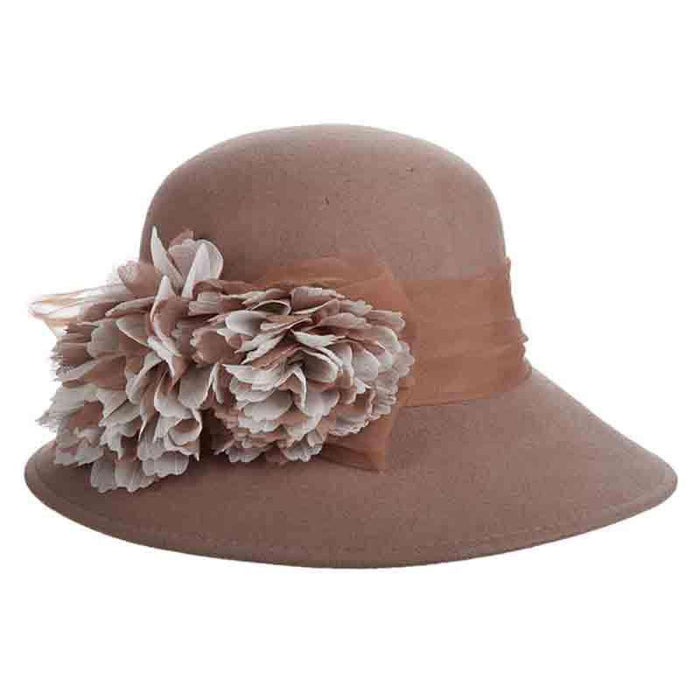 Wool Felt Big Brim Cloche with Organza Silk Flower - Scala Hats