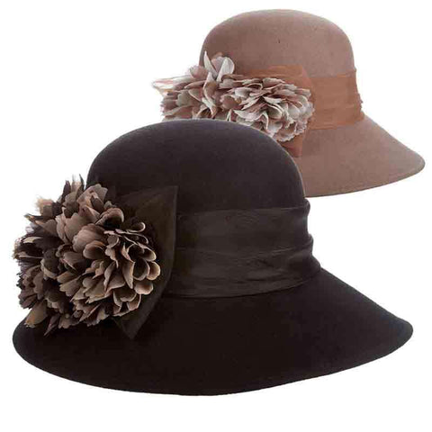 Wool Felt Big Brim Cloche with Organza Silk Flower - Scala