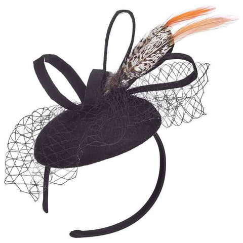 Felt Fascinator with Orange Tip Pheasant Feathers - Scala