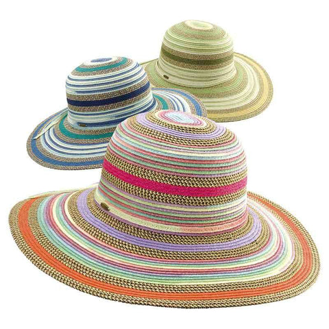 Multicolor Striped Braided Sun Hat by Scala Collezione