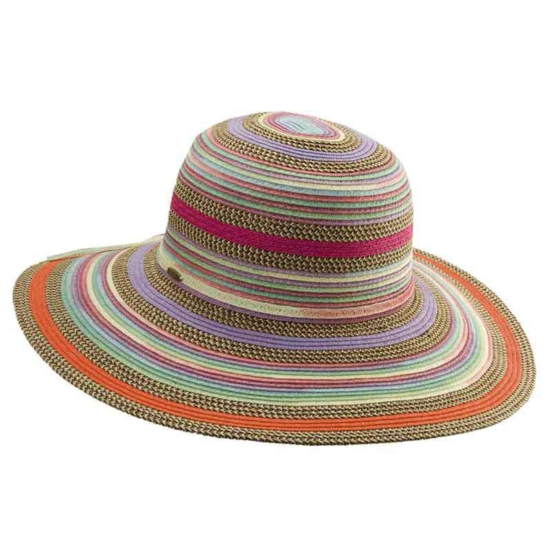 Multicolor Striped Braided Sun Hat by Scala Collezione - SetarTrading Hats