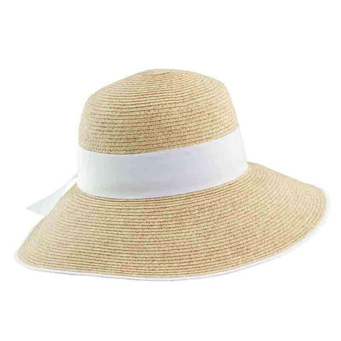 Big Brim Sun Hat with Wide Ribbon Band by Scala