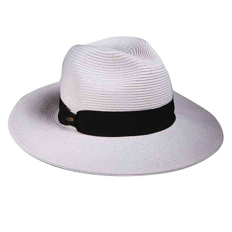 Wide Brim Safari Hat with Black Ribbon Band by Scala Collezion