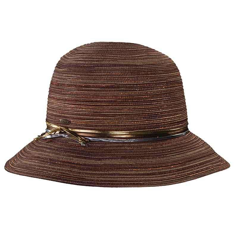 Polybraid Big Brim Cloche with Metallick Band by Scala
