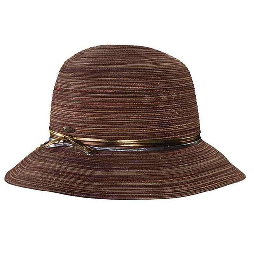 Polybraid Big Brim Cloche with Metallic Band by Scala Collezion - SetarTrading Hats