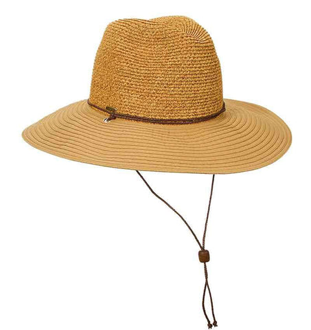 Sewn Ribbon Brim Safari Hat with Chin Cord by Scala