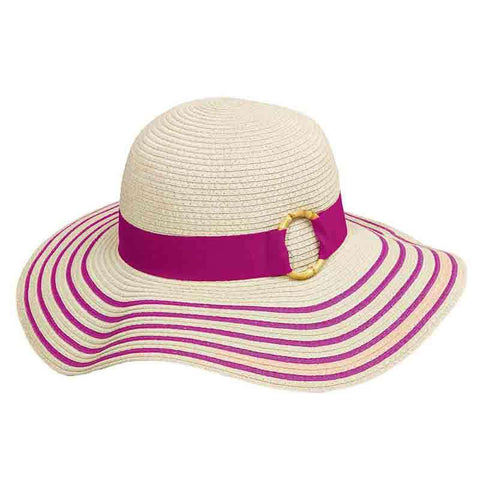 Striped Brim Summer Floppy Hat - Tropical Trends