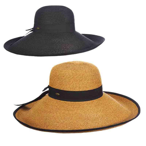 8095b528 Large Brim Sun Hat with Ribbon Trim - Scala