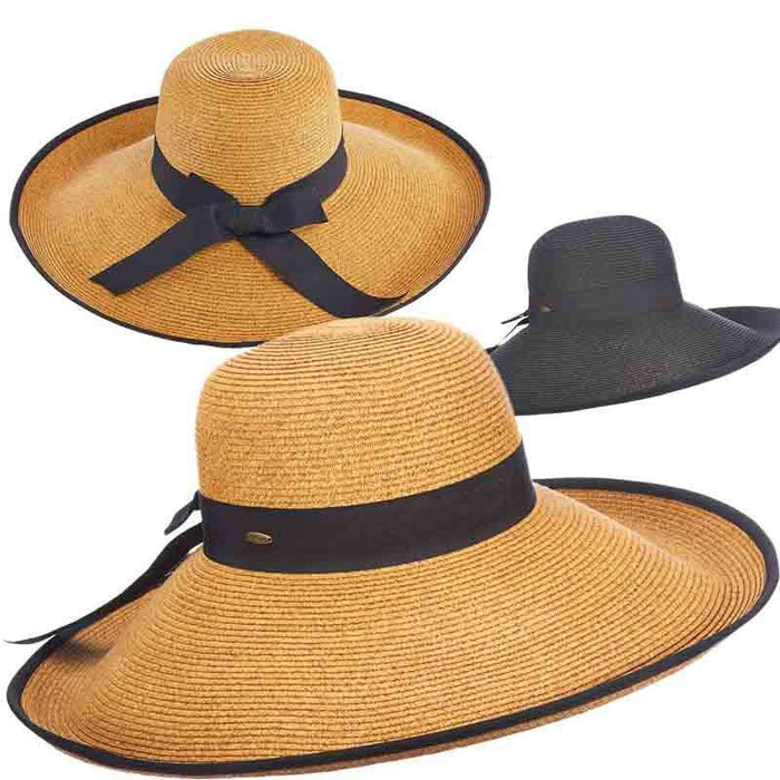 Large Brim Sun Hat with Ribbon Trim - Scala