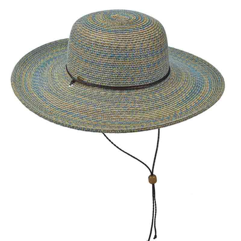 Multi Color Summer Floppy Hat with Chin Strap by Scala - Blue-Green