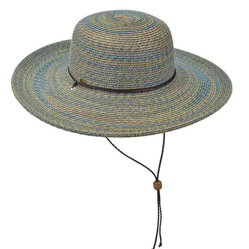 Multi Color Summer Floppy Hat with Chin Strap by Scala Collezione