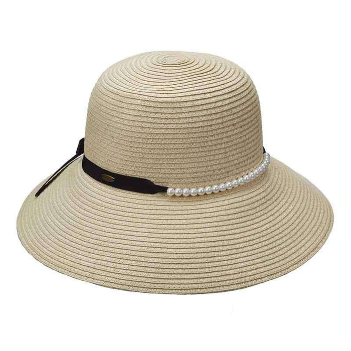 Shapeable Brim Summer Hat with Pearl Bead Band by Scala - SetarTrading Hats