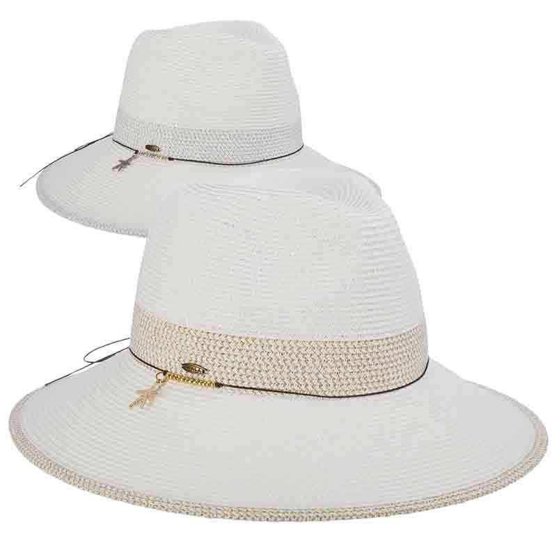 Metallic Band White Safari Hat - Scala Hats