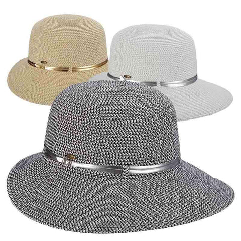 Metallic Facesaver Sun Hat with Belt Accent - Scala