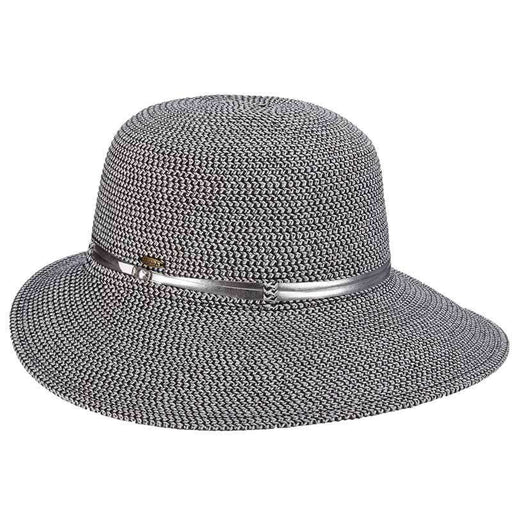 Metallic Facesaver Sun Hat with Belt Accent - Scala Hats