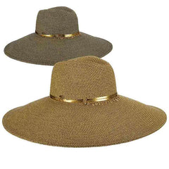 Extra Large Brim Summer Safari Hat with Metallic Accent