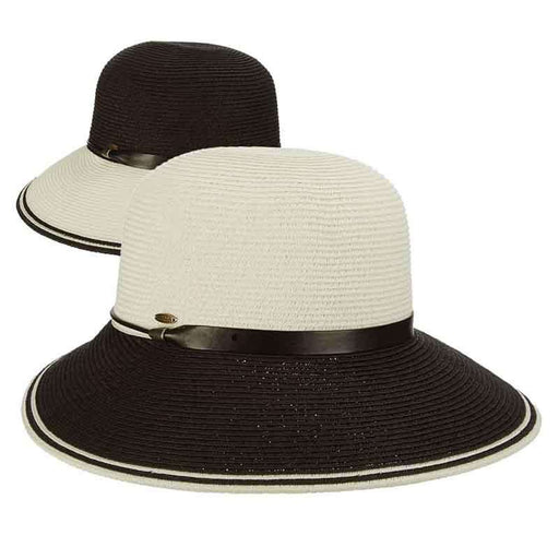 Black and White Dimensional Brim Sun Hat by Scala - SetarTrading Hats