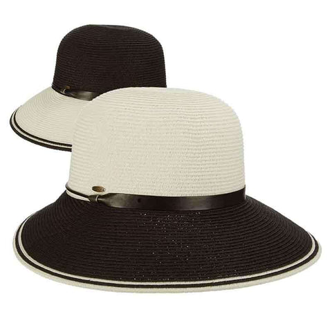 Black and White Dimensional Brim Sun Hat by Scala