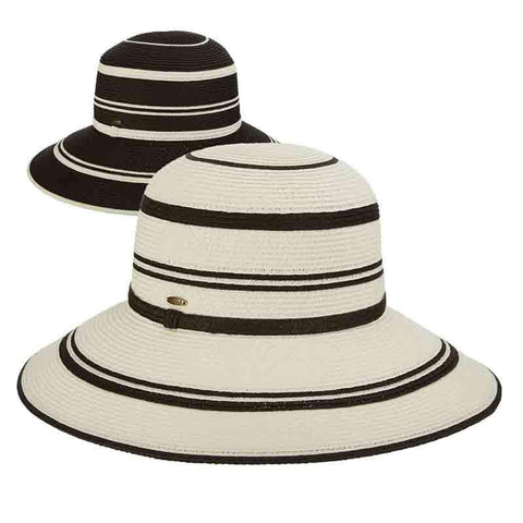 Black and White Big Brim Sun Hat by Scala