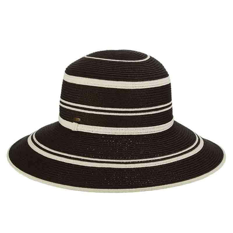 Black and White Big Brim Sun Hat by Scala - SetarTrading Hats