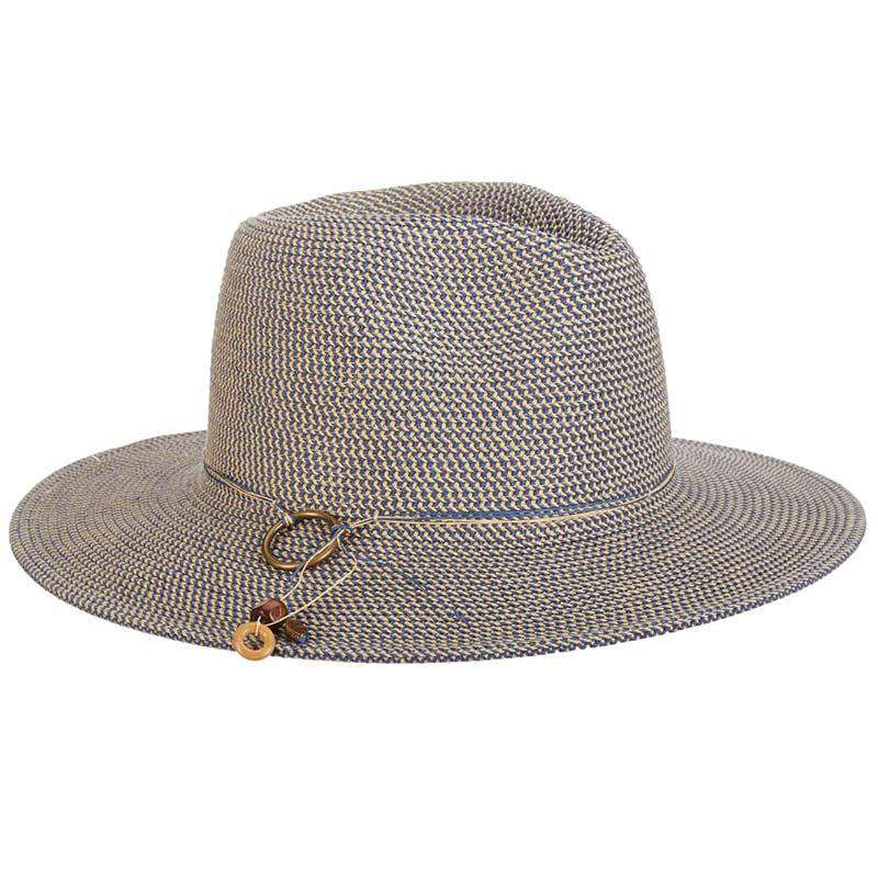 Tweed Braid Toyo Safari Hat with Brass Ring - Tropical Trends