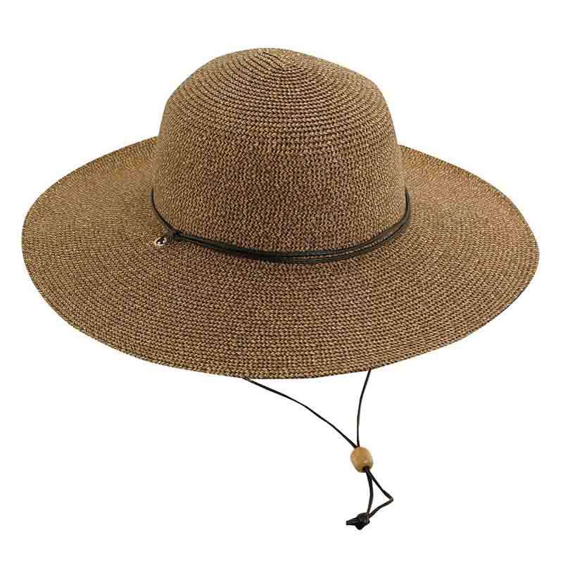 Tweed Summer Floppy Hat with Chin Strap by Scala - Coffee