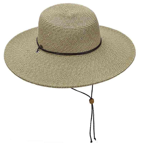 Tweed Summer Floppy Hat with Chin Strap by Scala - Olive