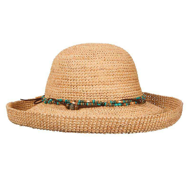 Crocheted Organic Raffia Up Turned Brim Hat with Wood Beads - Scala - SetarTrading Hats