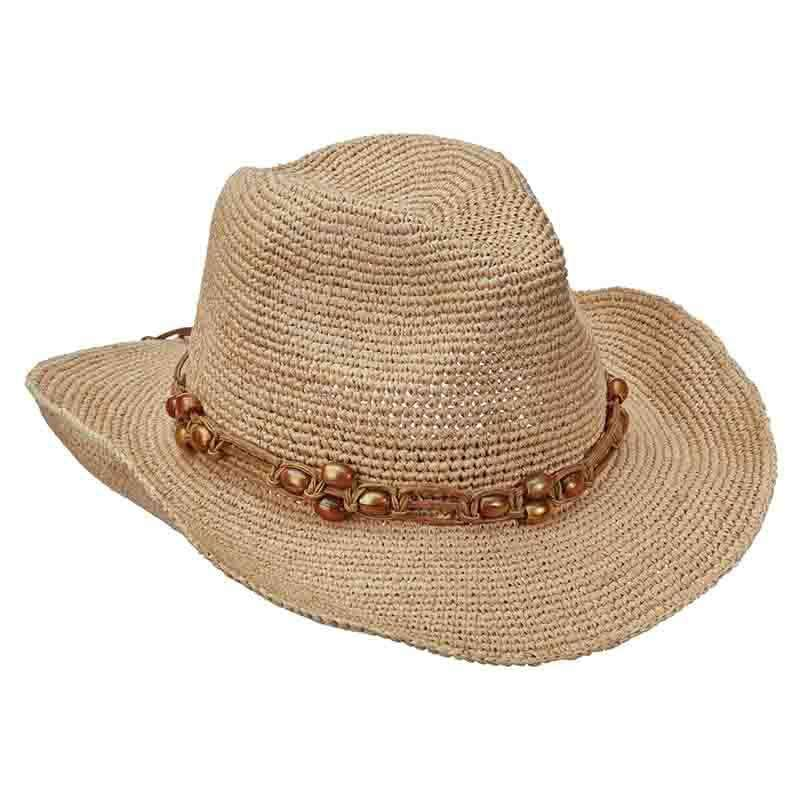 Organic Raffia Western Hat with Beaded Band