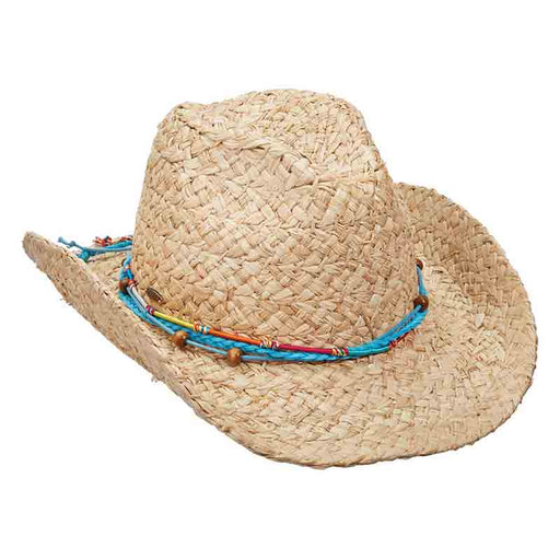 LR696TURQUOISE shapeable brim western safari women's hat braided organic raffia scala collezione
