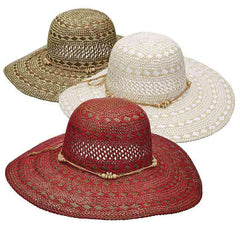 Criss-Cross Woven Two Tone Toyo Summer Floppy Hat - Scala Pronto